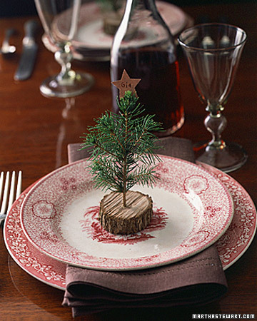 Tree place card setting